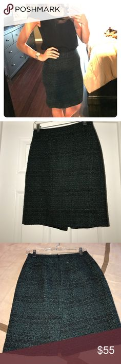 NWOT J Crew green sparkle wool pencil skirt Never worn wool pencil skirt from J Crew. Green & black pattern with silvery sparkle. Zips in back, small slit, and perfectly sealed for the most flattering fit. Fully lined. Perfect condition. J. Crew Skirts Pencil