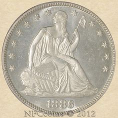 1886 Seated Liberty Half MS66 PCGS, obverse World Coins, Coin Collecting, Liberty, Bronze, Type, Silver, Gold, Kids, Coins