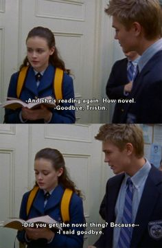 """She's reading again...how novel""- Tristan <- seriously though, that's really awesome pun."