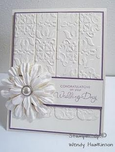 Gorgeous All White Embossed Wedding Card...with dimensional flower.