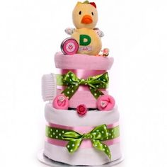 A budget nappy cake for a new baby girl with a soft duck rattle perfect to send to a friend who has just had a baby. Baby Girl Cakes, Nappy Cakes, New Baby Girls, Having A Baby, New Baby Products, Children, Young Children, Boys, Kids