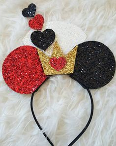 Minnie Mouse Ears Headband Queen of Hearts by Kutiebowtuties                                                                                                                                                     More