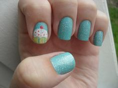 Blue Shade And Cup Cake Nails. I'm doing this on my birthday.