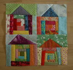 i figured that since i was so late in sending my block, i should make another one to send as a peace offering. :) i had the small houses on the brain, and i am so glad to finally have it complete! hope you like it sarah! House Quilt Patterns, House Quilt Block, Quilt Block Patterns, Quilt Blocks, Quilt Kits, Scrappy Quilts, Mini Quilts, Quilting Projects, Quilting Designs