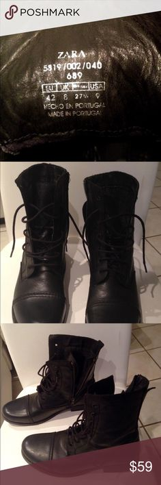 ZARA MILITARY COMBAT BOOTS BLACK 9US BOOTS HAVE BEEN LIGHTLY WORN, EXCELLENT CONDITIONS Zara Shoes Ankle Boots & Booties
