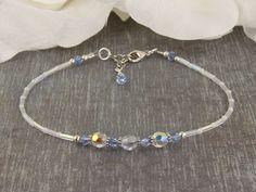 Jade Crystal, Swarovski Crystal Beads, Pearl Beads, Beaded Anklets, Beaded Bracelets, 925 Silver, Sterling Silver, Orange Crystals, Sapphire Wedding