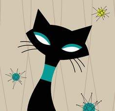 ATOMIC KITTY Art Print Retro Mid Century Modern Franciscan Starburst Retro Cat Googie