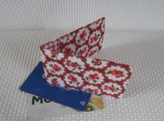 Mini travel credit card wallet holder pink and red floral Credit Card Wallet, Mini, Red And White, Cotton Fabric, Colours, My Favorite Things, Floral, Prints, Cards