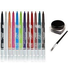 Trend  pcs Multicolor Eyeshadow pencil Eyeliner Pen Lip Liner Bonus with Waterproof Black Charming Eyeliner Gel
