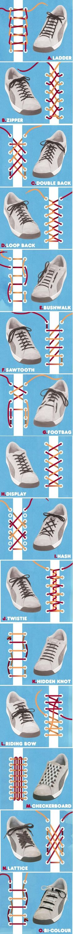 Crazy list of shoe lace tying methods