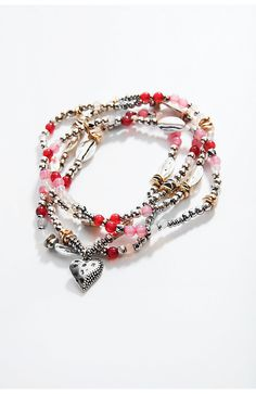beaded heart wrap bracelet
