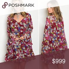 """💝Wine colored floral Boho dress S-L Just in!!! So stunning in person!!! Wine colored floral Boho dress. Fabric is 100% Polyester. Underarm to underarm approx 18"""" in small and length is 32"""" - nice loose flowy fit! Fully lined. No trades no comments on pricing only offer button. NWT. Actual item pictured on Mackenzie, wearing the small - she is 5'8. 2nd to last photo the model is 5'3....FYI for height reference! I'm 5'8 in large Dresses"""