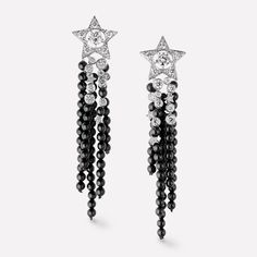 Comète earrings - Star earrings in 18K white gold, diamonds and black spinels with center diamonds - J10181 - CHANEL