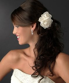Three Rose Bridal Hair Flowers