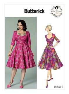 Sewing Pattern Misses' Sweetheart-Neckline, Full-Skirted Dress ~ Patterns by Gertie, Butterick Pattern Flirty Sexy Dress, Retro, Easy Sewing Patterns, Vintage Sewing Patterns, Dress Patterns, Butterick Sewing Patterns, Patron Butterick, Robes Pin Up, Do It Yourself Fashion, Full Skirt Dress, Pin Up Dresses