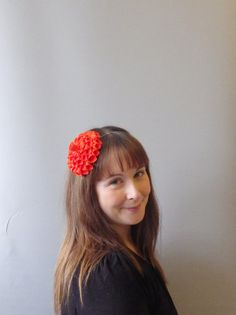 Orange Fascinator Hair Accessory with felt flower by SophieShields