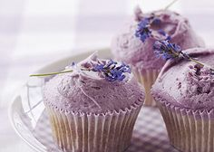 LAVENDER CUPCAKES     Infusing the milk with lavender flowers makes the flavour subtle. The icing can be left plain, or you can use a bit of food colouring to give it a light lavender colour