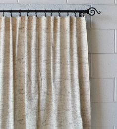 French Scripted Linen - Cream color with gray script; available in 3 lengths. — urbanest living