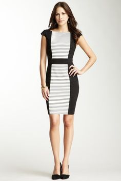 Contrast Fitted Dress by Vince Camuto on @HauteLook