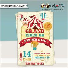 $35.00 Convite Festa Circo Vintage Digital