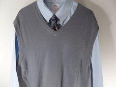 Banana Republic Cashmere Mens V Neck Sweater Vest Gray Size Large  #BananaRepublic #Vest