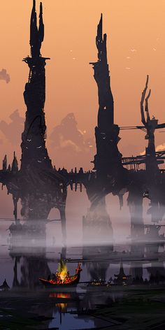 By Dimitar Marinski: Reminiscent of a color board. I admire the transition between a darker and lighter mood between the water and the sky. Environment Concept Art, Environment Design, Image Manga, Film D'animation, Fantasy Setting, Animation Background, Science Fiction Art, Fantasy Inspiration, Fantasy Landscape