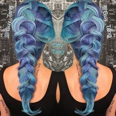 pastel+blue+hair+with+purple+highlights
