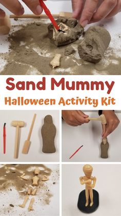 Kids can have a lot of fun playing and learning with this Sand Mummy Kit! Discover the mini skeleton inside using the included wooden tools. Combine this activity with a lesson plan on archeology, fossils, and even ancient cultures. This can also be used as an educational tool for kids to learn about bones and the human body, as they build fine motor skills. This is a great activity for Halloween and can be combined with other themed ideas for the spooky season! Back To School Crafts, Fine Motor Skills, Fossils, Halloween Crafts, Archaeology, Human Body, Skeleton, School Ideas, Bones