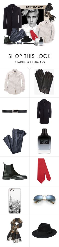 """""""Rock the Vote in Style"""" by ysmn-pan ❤ liked on Polyvore featuring Ted Baker, Gucci, Danier, Givenchy, Santoni, Casetify, Ray-Ban, L.L.Bean, Yves Saint Laurent and men's fashion"""