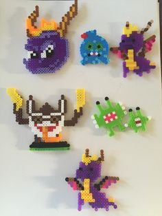 The Twins' perler bead creations they made for their Skylanders table at their birthday party.