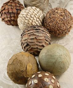 Natural Ball Décor Set #zulily #zulilyfinds. These look so nice in a great big glass vase.
