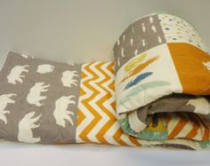 Modern Baby Boy Quilt-Rustic Baby Bedding-Organic Birch Fabric-Chevron-Gray-Grey-Orange-Bear Hike-Woodland Animal Baby Blanket
