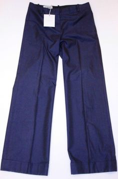 CHLOE Runway WIDE LEG Suiting BLUE INK Cuffed Dress PANTS Made in Italy 38 $375