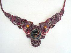 Caribbean Sunset -micro macrame handmade necklace, micro macrame ...