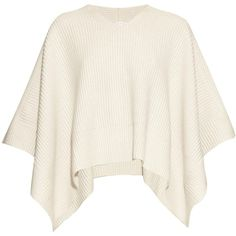 Chloé V-neck cashmere poncho (2.275 BRL) ❤ liked on Polyvore featuring outerwear, tops, poncho, ivory, cashmere poncho, white poncho and v neck poncho