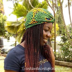 Africanprint inspired Turban by @sa4a http://trendsandblendsgh.blogspot.com/2015/05/style-diaries-green-with-life.html?m=1   #style #fashion #africanfashion #africanprint #turban #headgear #braids #blackgirls #hair #tshirt #twists #Ghana
