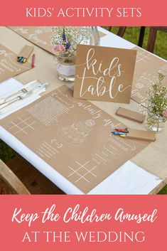 Are you inviting children to your wedding? This set has everything you need to keep the little ones entertained during the speeches.  Each activity pack contains, 8 activity place mats, 3 packs of crayons and 1 kids table sign.  If all children are sitting on a dedicated kids table you can set out the pace mats at each place setting and put the sign in the centre of the table with crayons in the middle to share.  If children are sitting on various tables around the venue why not put a little…