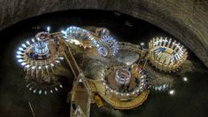 The Salida Turda salt mines in Romania were excavated in the 17th century and were crucial to the Romans as a source for salt and wealth. Now a museum, three mines reaching as deep as 120 meters underground feature a sports arena, Ferris wheel, mini golf course, bowling lanes, and a boat-able underground lake!