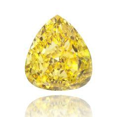Pear shaped canary yellow diamond