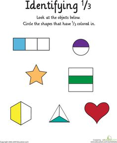 First Grade Math Worksheets: Identifying the Fraction 1/3