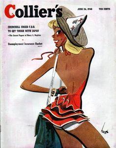 Collier's vintage magazine cover June, 1946 - Earl Oliver Hurst Girl in bathing suit Vintage Ephemera, Vintage Ads, Vintage Posters, Vintage Advertisements, Cartoons Magazine, Magazine Art, Magazine Covers, Retro Illustration, Magazine Illustration