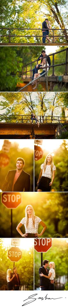 Scott found this overpass. A gorgeous couple, abandoned railroad tracks, grungy concrete, weeds, graffiti and magic hour. What more can a photographer ask for?