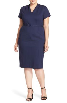 Free shipping and returns on Sejour Belted Ponte V-Neck Sheath Dress (Plus Size) at Nordstrom.com. Offering a look of professional refinement, a short-sleeve ponte sheath is softened with tucks at the V-neckline and shaped with princess seaming and reverse darts. A slender belt at the waist completes the polished design.