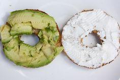 Food - #breakfast #mornings Avocado and Cream Cheese Bagel