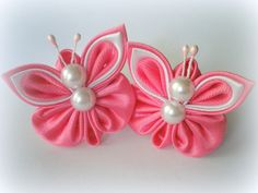 Items similar to Hair clips Elastic band for hair scrunchies butterfly handmade kanzashi for girls baby hair accessories made of satin and organza ribbon on Etsy Ribbon Art, Organza Ribbon, Diy Ribbon, Ribbon Crafts, Flower Crafts, Fabric Crafts, Sewing Crafts, Kanzashi Tutorial, Cloth Flowers