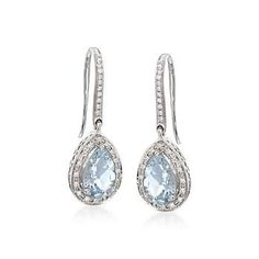 Ross-Simons - 2.15 ct. t.w. Aquamarine and .15 ct. t.w. Diamond Earrings in 14kt White Gold - #681692