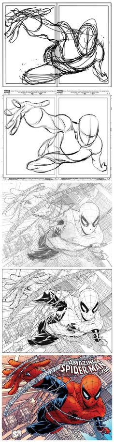 Drawing Spiderman As a fellow artist who's rough drafts are always gibberish, this makes me feel better knowing I'm not alone in my messy doodling. Comic Drawing, Drawing Sketches, Art Drawings, Comic Books Art, Comic Art, Book Art, Figure Drawing, Drawing Reference, Poses References