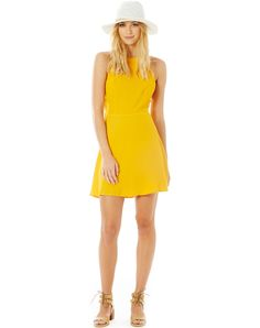 High Neck Cross Back Dress, CADMIUM YELLOW // Glassons