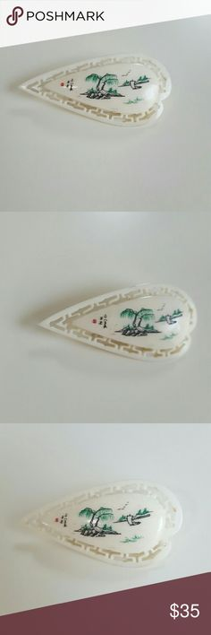 "Chinese Scrimshaw Brooch This lovely tear drop shapped brooch is scrimshaw bone carved with trees rocks sail boat, waves, ocean and sky. Beautiful details of the land and scenery. Hallow cuts in the frame surrounding the center. 1.75"" long and 1"" wide at the biggest end. Hand made and one of a kind. Great with your favorite shirt and jeans. Other great accessories in my closet. Jewelry Brooches"