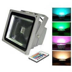 50W RGB LED Flood Light Lamp 85V-265V Floodlight Outdoor Spotlight 4000LM Red Green Blue& Remote Control USA Seller by blk. $88.99. IR Remote control: Remote  control can turn on/off and adjust the colors and brightness.. Waterproof IP Rating: IP65. Color changing : 16 colors. Shell Material: Stainless steel & Die-casting Aluminum. Input Voltage: AC 85-265V,Power Consumption: 50W. PACKAGE: 1 x LED 50W LED RGB Flood Light 1 x Key Remote. Save 32%!